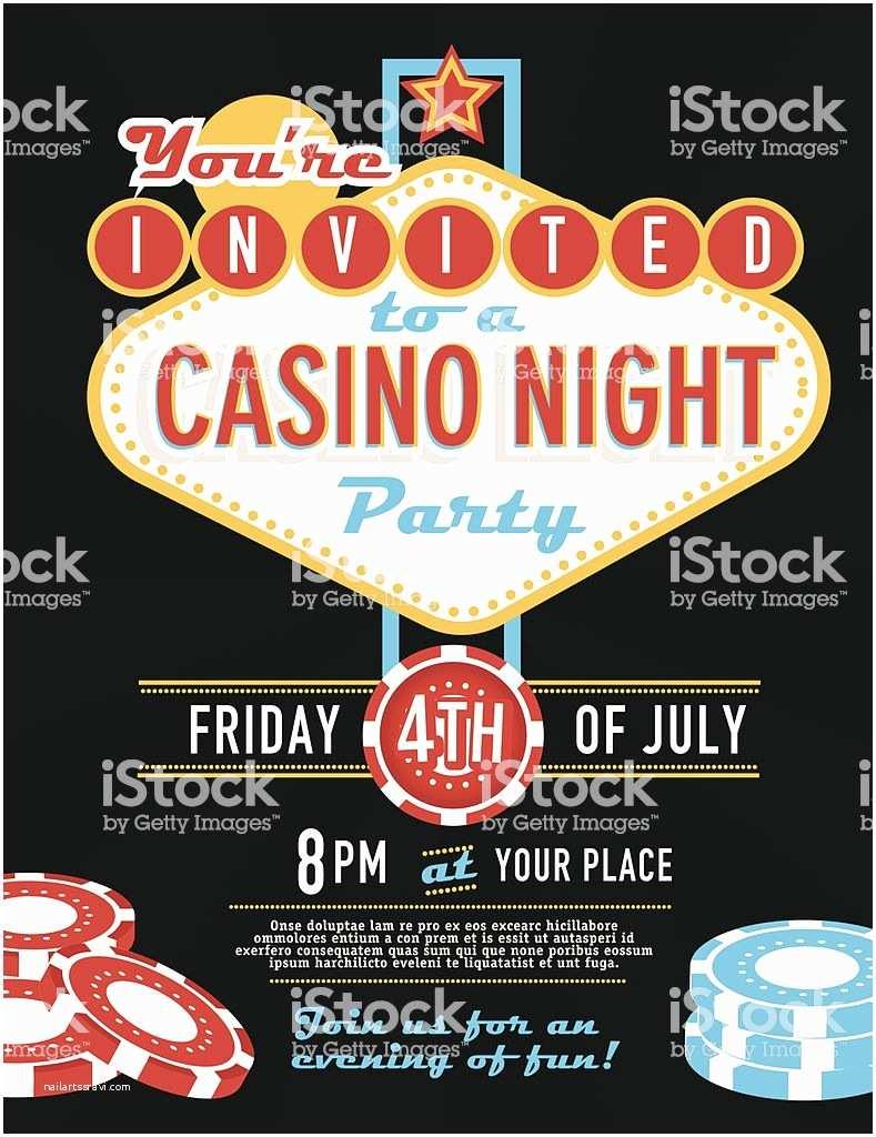 Casino Party Invitations Las Vegas Sign Party and Casino Night Invitation Design