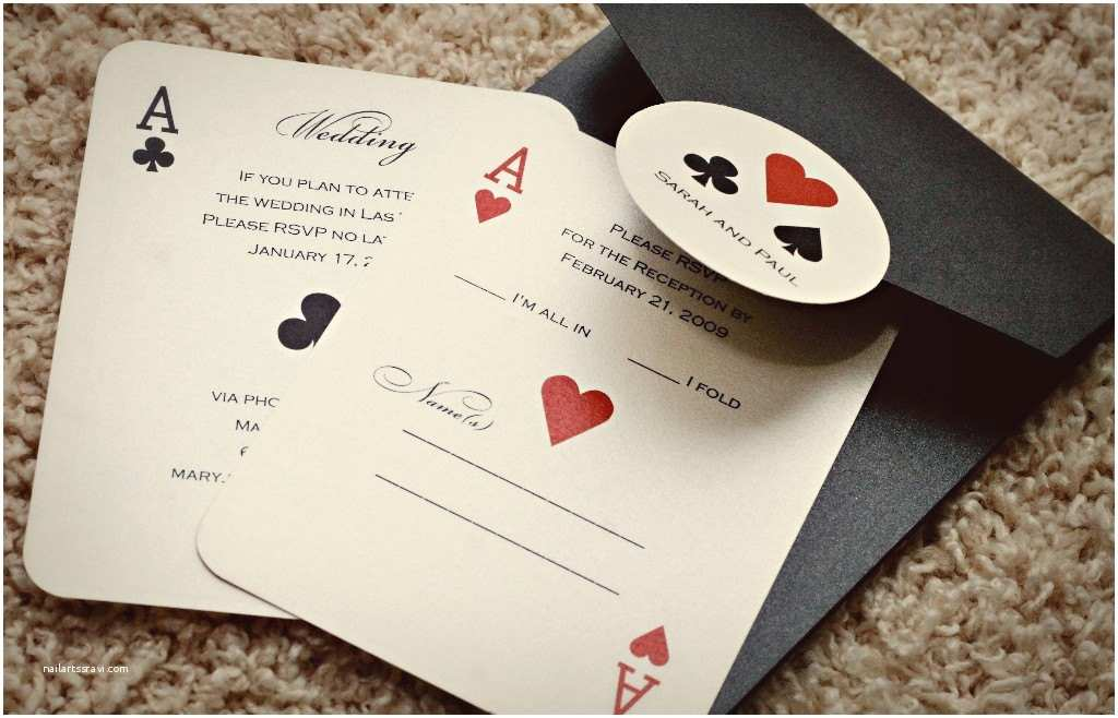 Casino Party Invitations Set Of Classic Vegas or themed Wedding Invitations