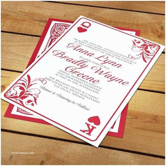 Casino themed Wedding Invitations Anna Las Vegas Playing Card Wedding Invitation for Casino