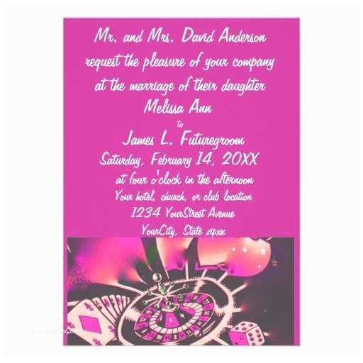 Casino themed Wedding Invitations Casino Gambler theme Wedding Invitation Pink