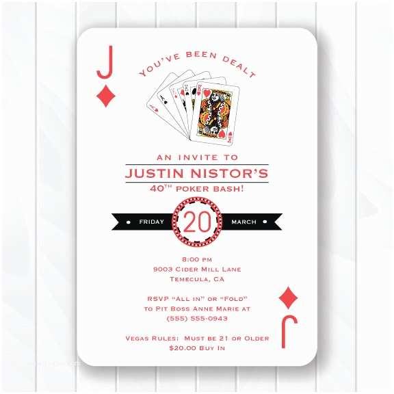 Casino themed Wedding Invitations Casino Invitation Poker Birthday Party 30th Birthday 40th