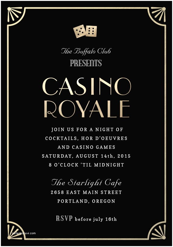 Casino themed Wedding Invitations Casino Royale Invitations In Black