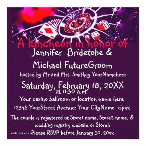 Casino themed Wedding Invitations Las Vegas Casino theme Bridal Shower Personalized Invites