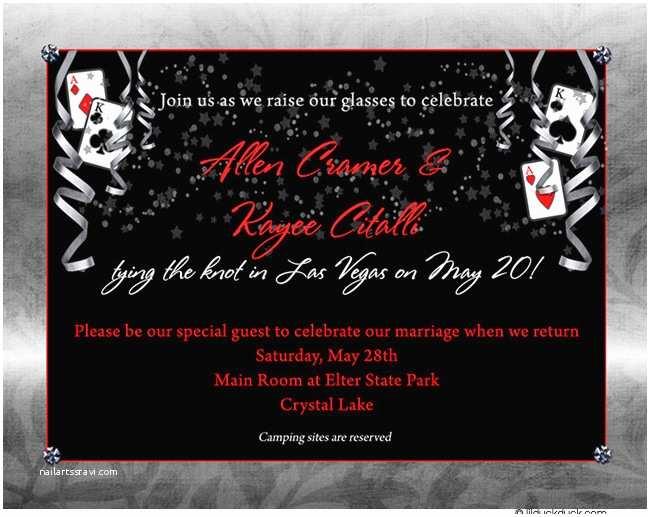 Casino themed Wedding Invitations Vegas Wedding Reception Invitation & Insert Cards