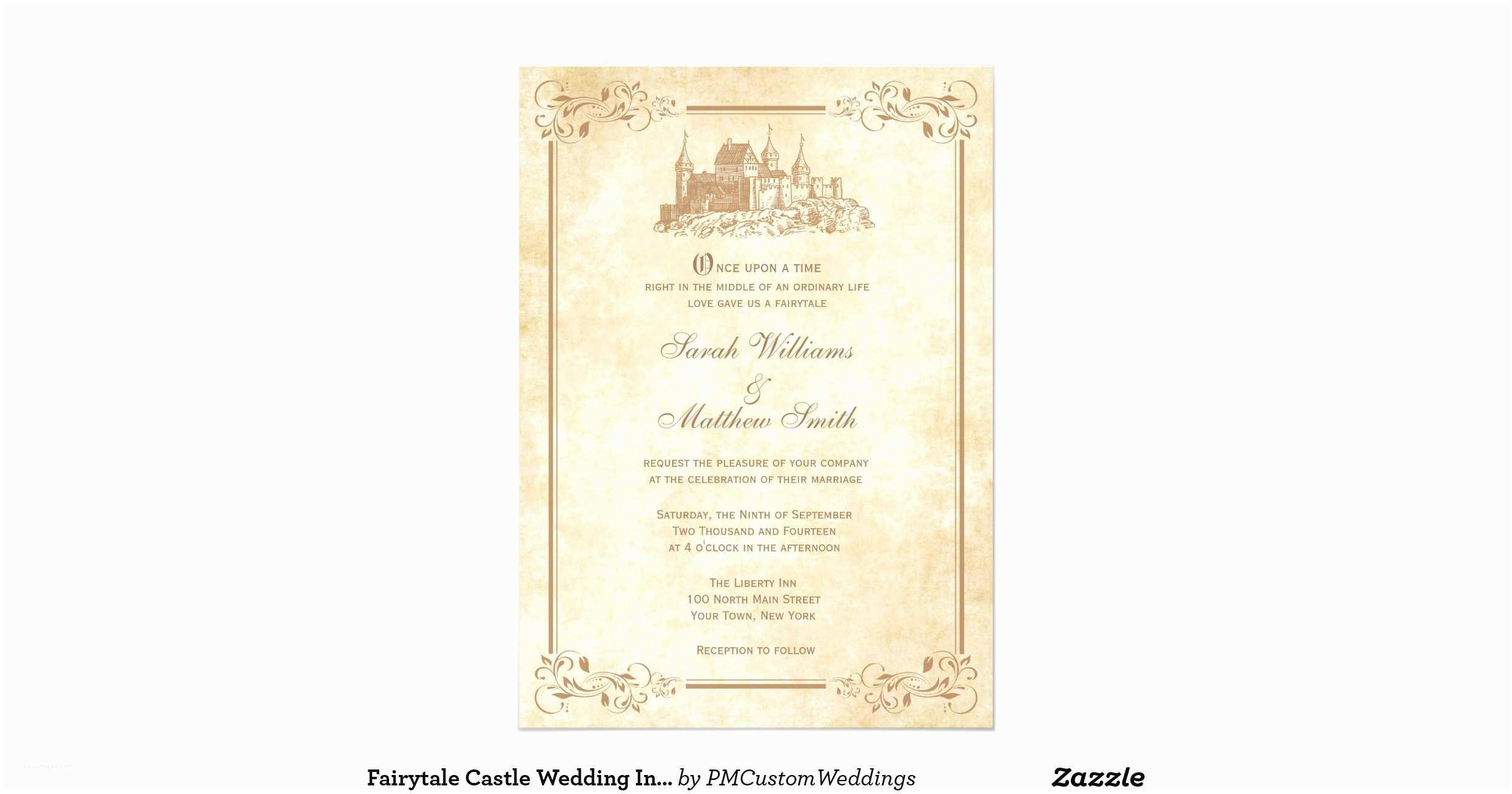 Castle themed Wedding Invitations Fairytale Castle Wedding Invitations