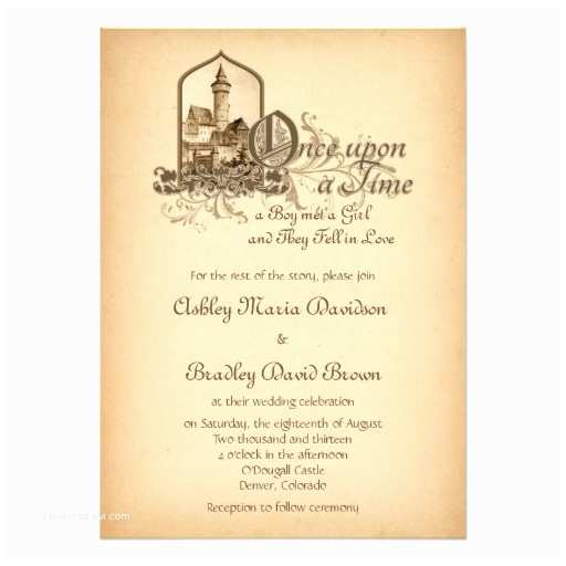 Castle themed Wedding Invitations Fairytale Me Val Castle Ce Upon Wedding 5x7 Paper