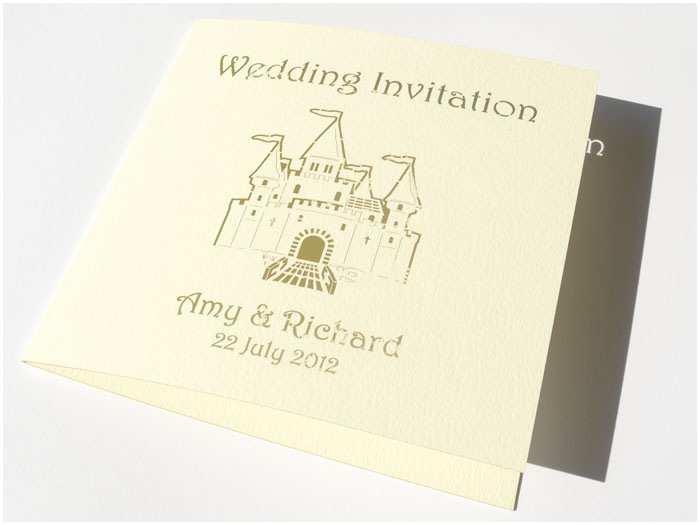 Castle themed Wedding Invitations Personalised Castle Wedding Invitation Folded Cards Each