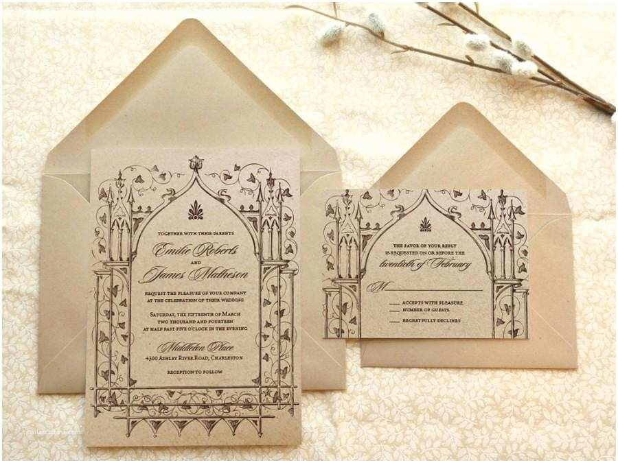 Castle Wedding Invitations Ce Upon A Time Kraft Garden Wedding Invitations