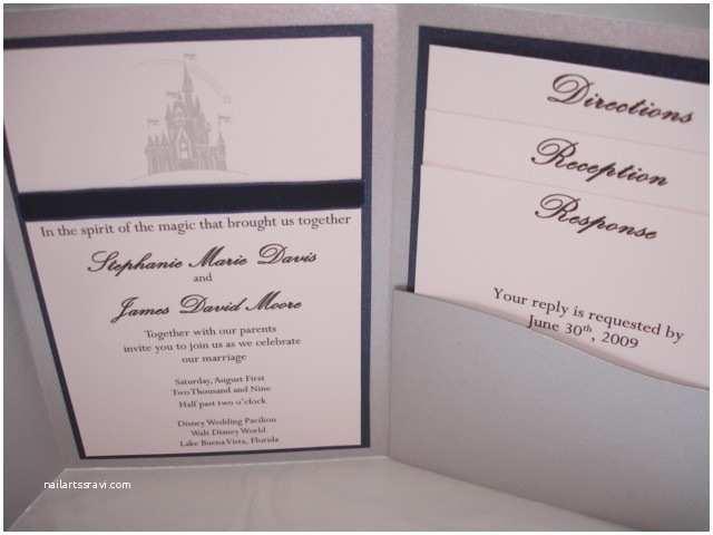 Castle Wedding Invitations Custom Disney Cinderella S Castle Pocketfold Wedding
