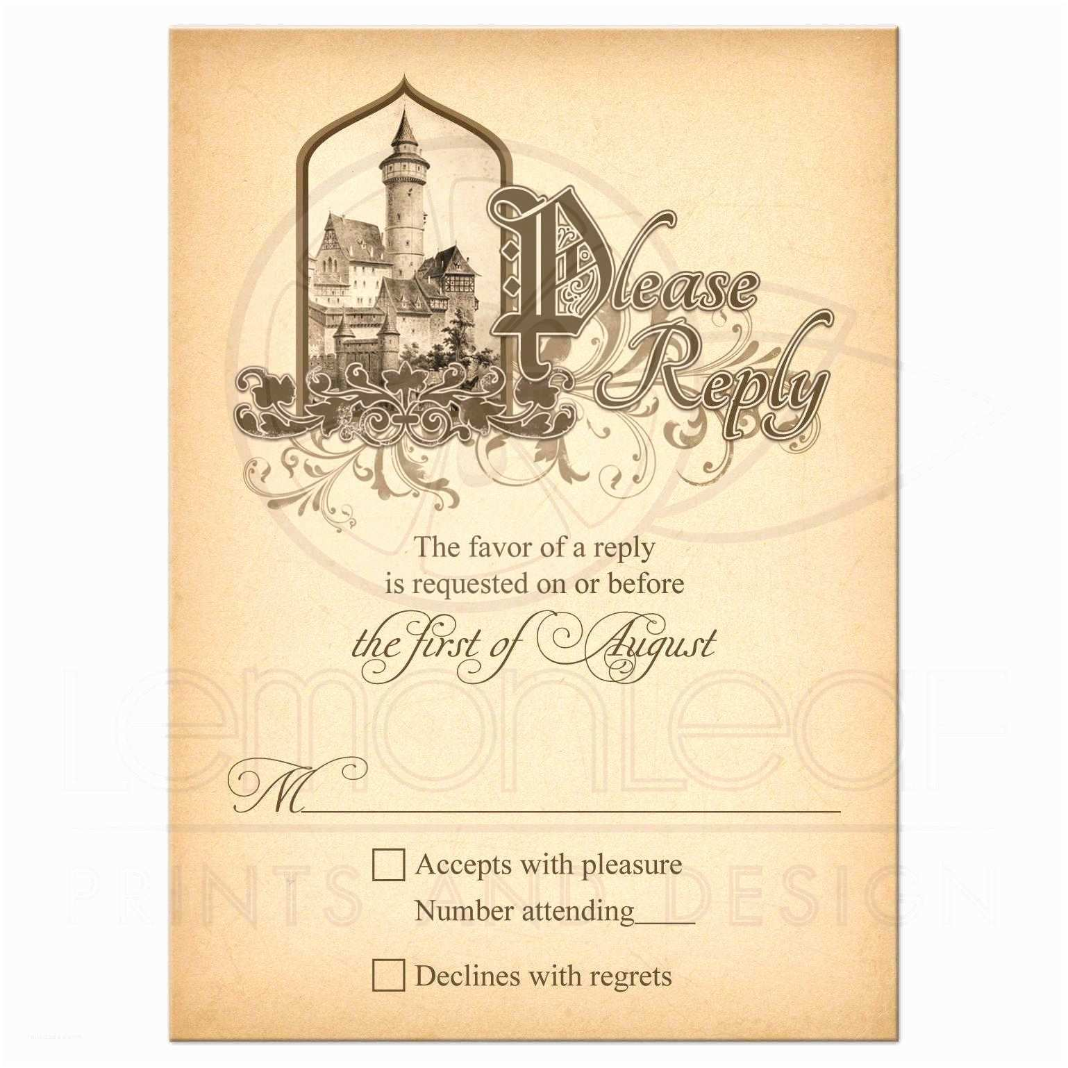 Castle Wedding Invitations Design Fairy Tale Wedding Rsvp Card Me Val Castle Ce Upon A Time