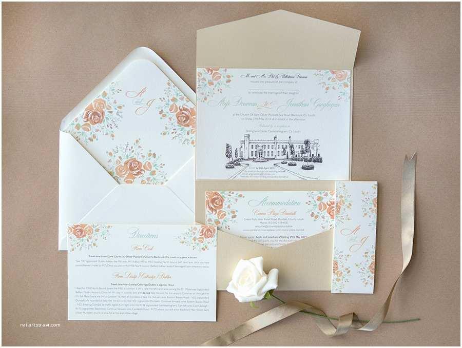 Castle Wedding Invitations Design Hand Drawn Venue Wedding Invitations