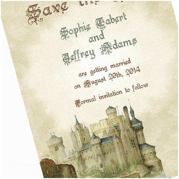 Castle Wedding Invitations Items Similar to Camelot Castle Save the Date Cards