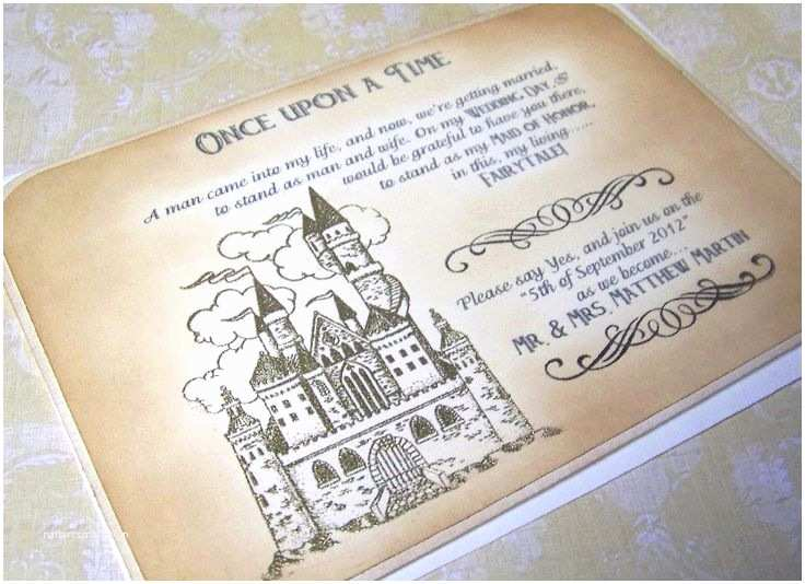 Castle Wedding Invitations Luxury Maid Of Honor Ce Upon A Time Gold Embossed