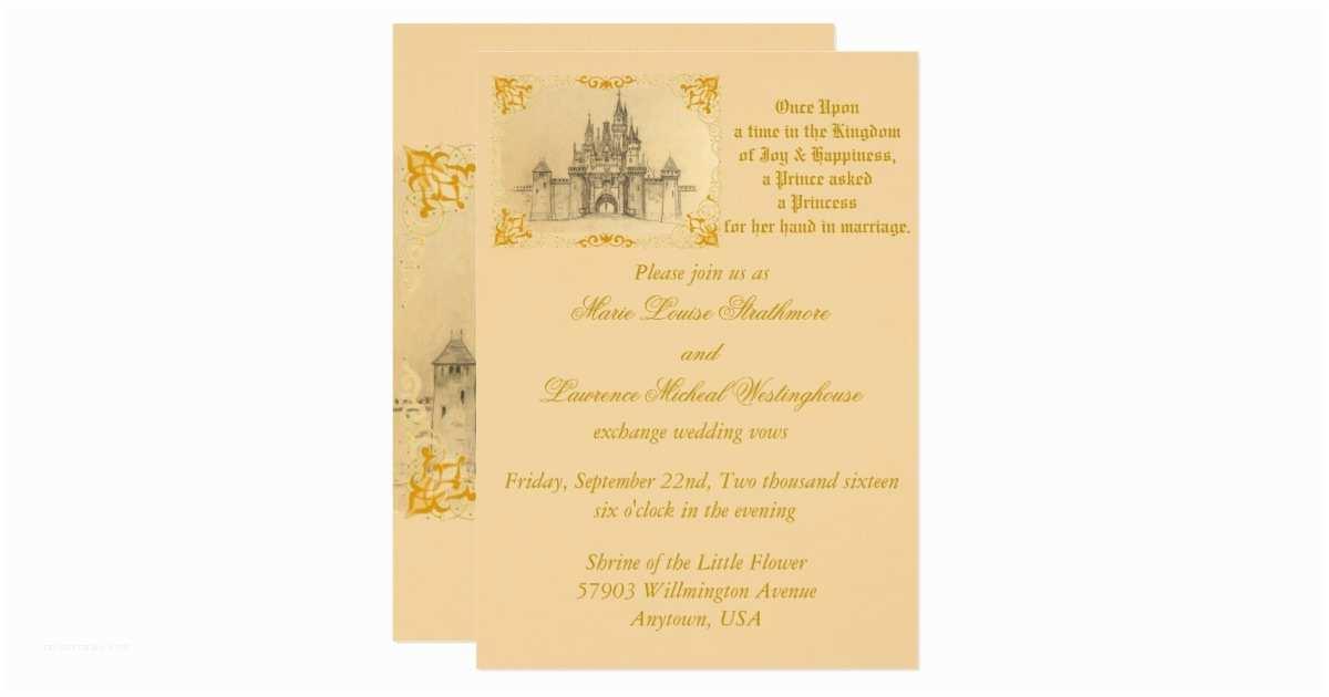 Castle Wedding Invitations Royal Couple Castle Fairytale Wedding Invitation