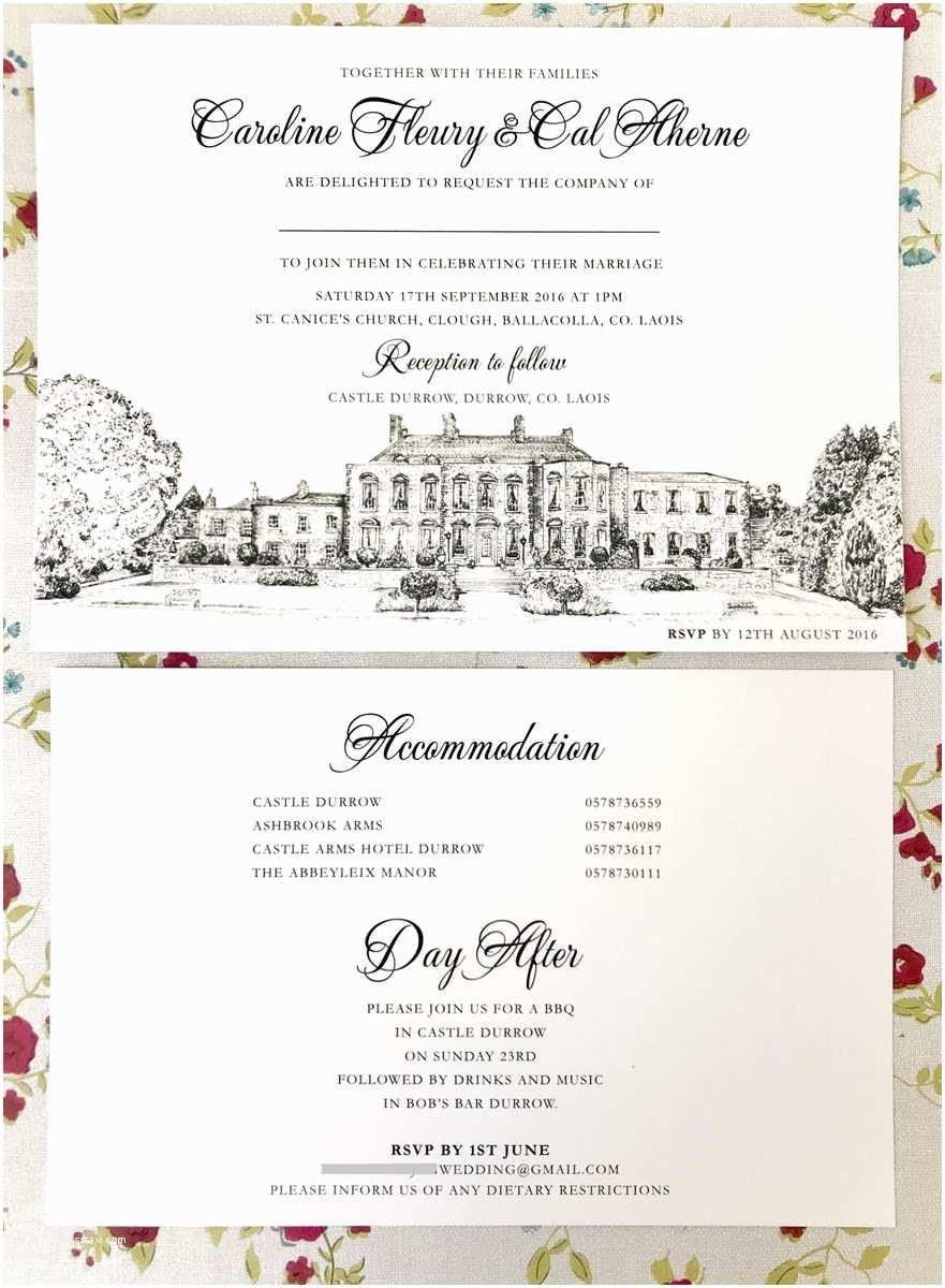 Castle Wedding Invitations Venue Illustration Invitations Castle Durrow