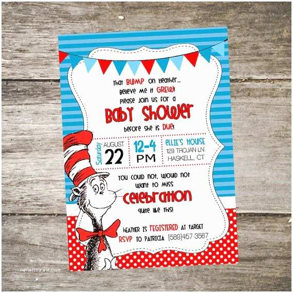 Cat In the Hat Baby Shower Invitations Cat In the Hat Baby Shower Invitation Dr Seuss Baby