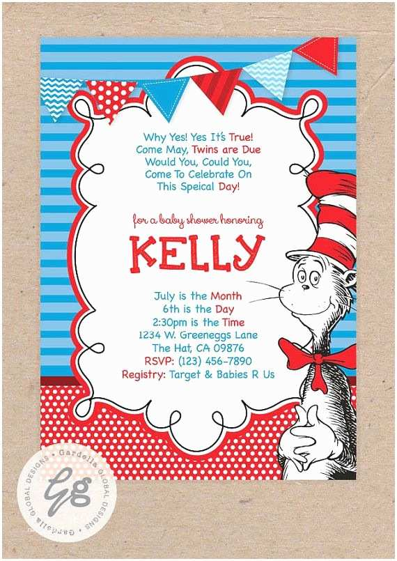 Cat In the Hat Baby Shower Invitations Cat In the Hat Baby Shower Invitation Dr Seuss Baby Shower