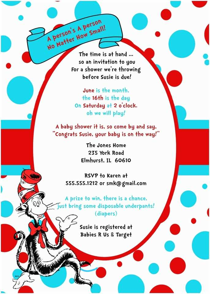 Cat In the Hat Baby Shower Invitations Cat In the Hat Baby Shower Invitations