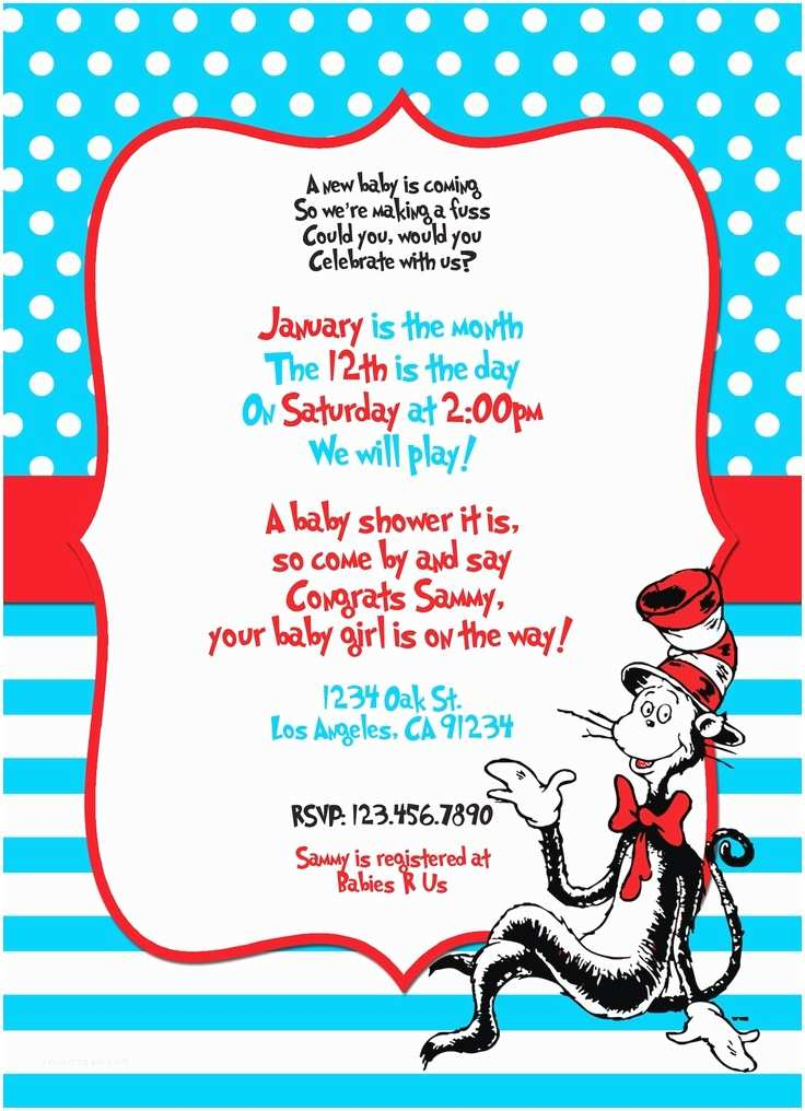 Cat In the Hat Baby Shower Invitations Custom Dr Seuss themed Printable Digital Baby Shower