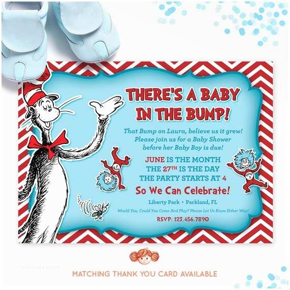 Cat In the Hat Baby Shower Invitations Dr Seuss Baby Shower Invitation Cat In the Hat by