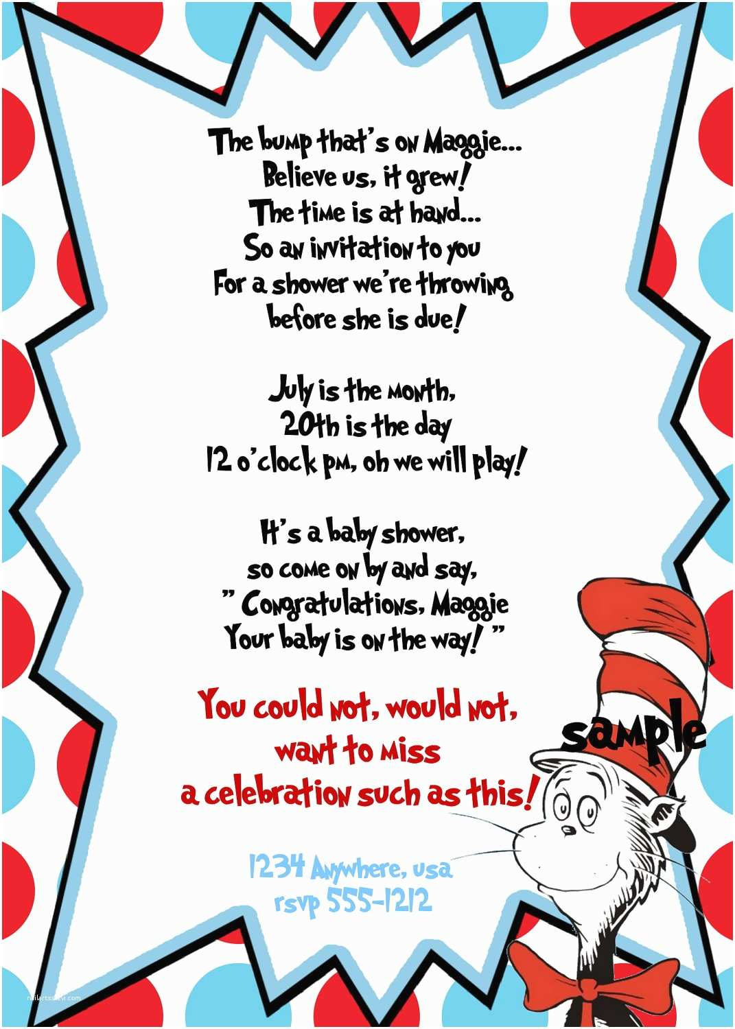 Cat In the Hat Baby Shower Invitations Dr Seuss Baby Shower Invitation Dr Seuss by