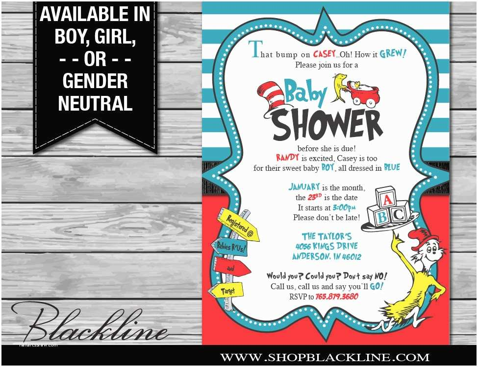 Cat In the Hat Baby Shower Invitations Dr Seuss Baby Shower Invitations Digital