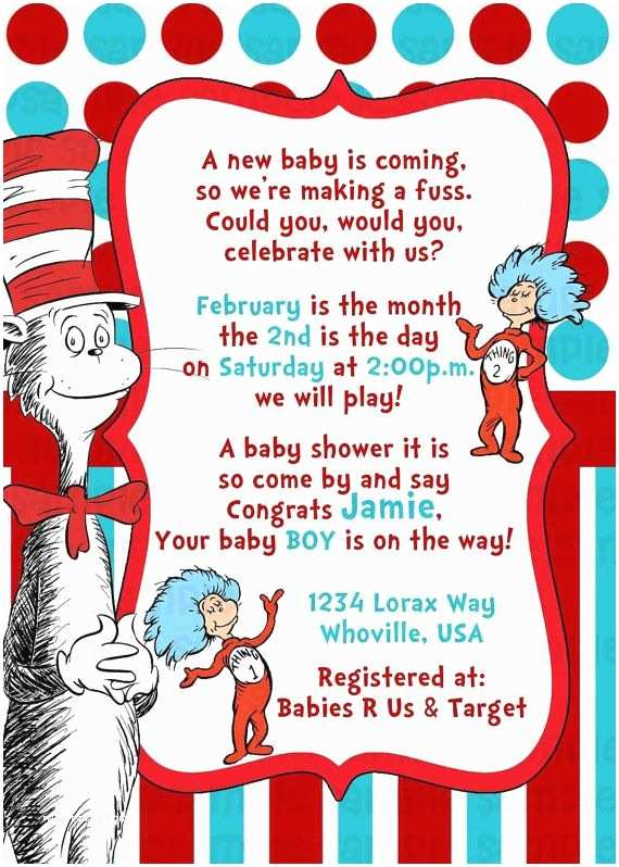 Cat In the Hat Baby Shower Invitations Dr Seuss Cat In the Hat Baby Shower Invitation by