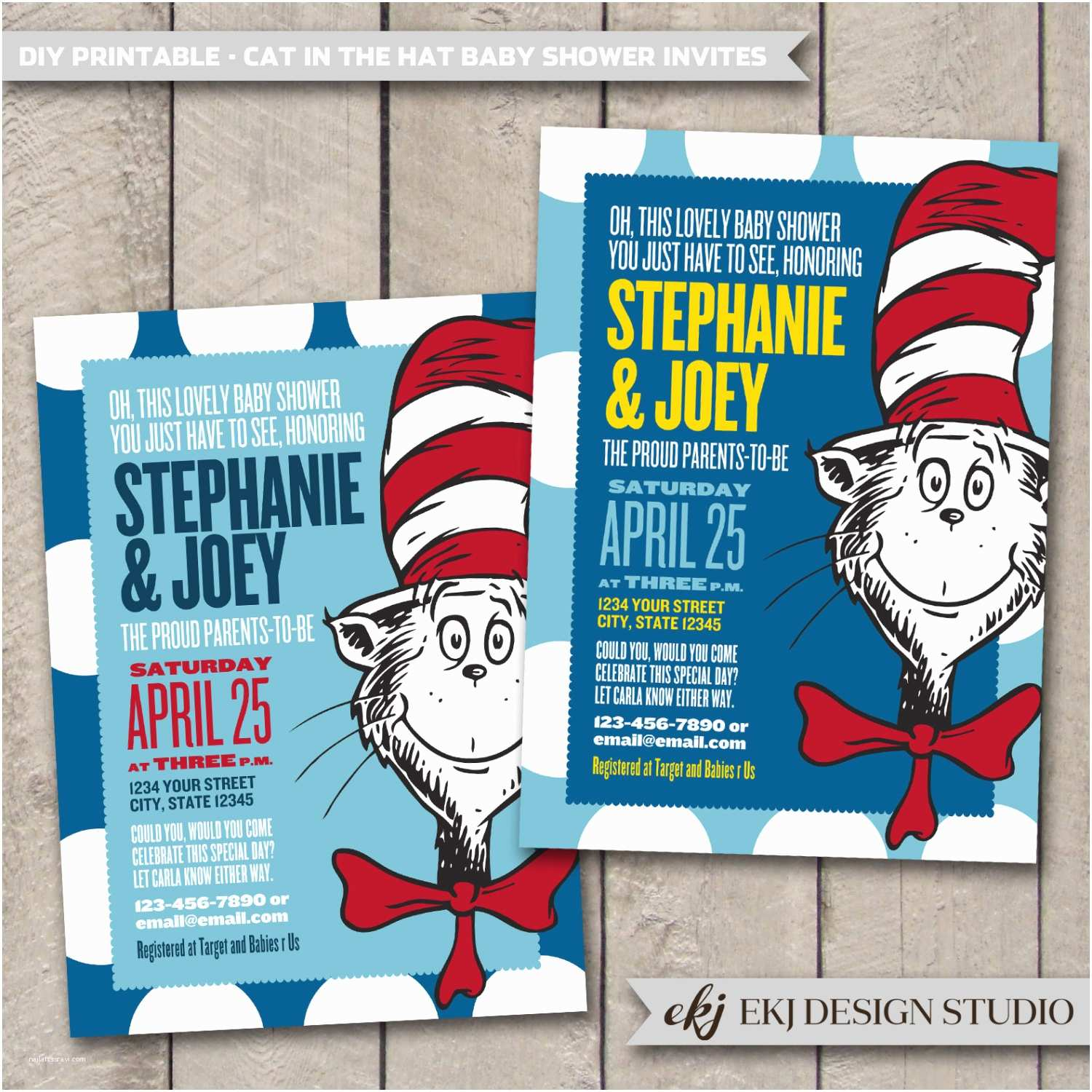 Cat In the Hat Baby Shower Invitations Dr Seuss Cat In the Hat Baby Shower Invitation Diy