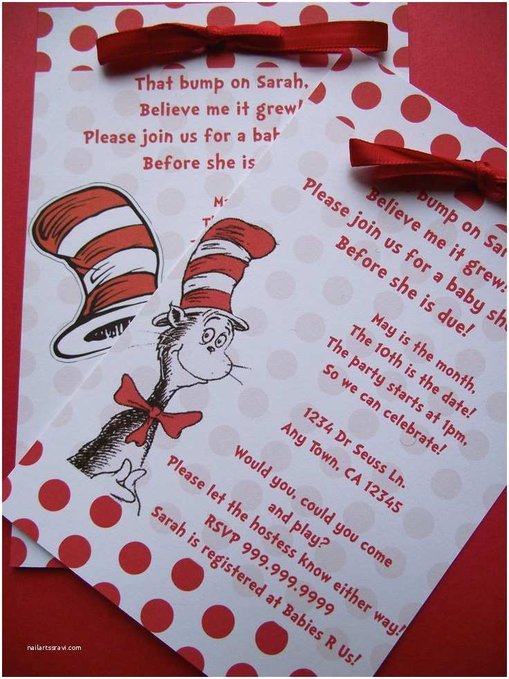 Cat In the Hat Baby Shower Invitations Dr Seuss Cat In the Hat Baby Shower or Birthday Invitation