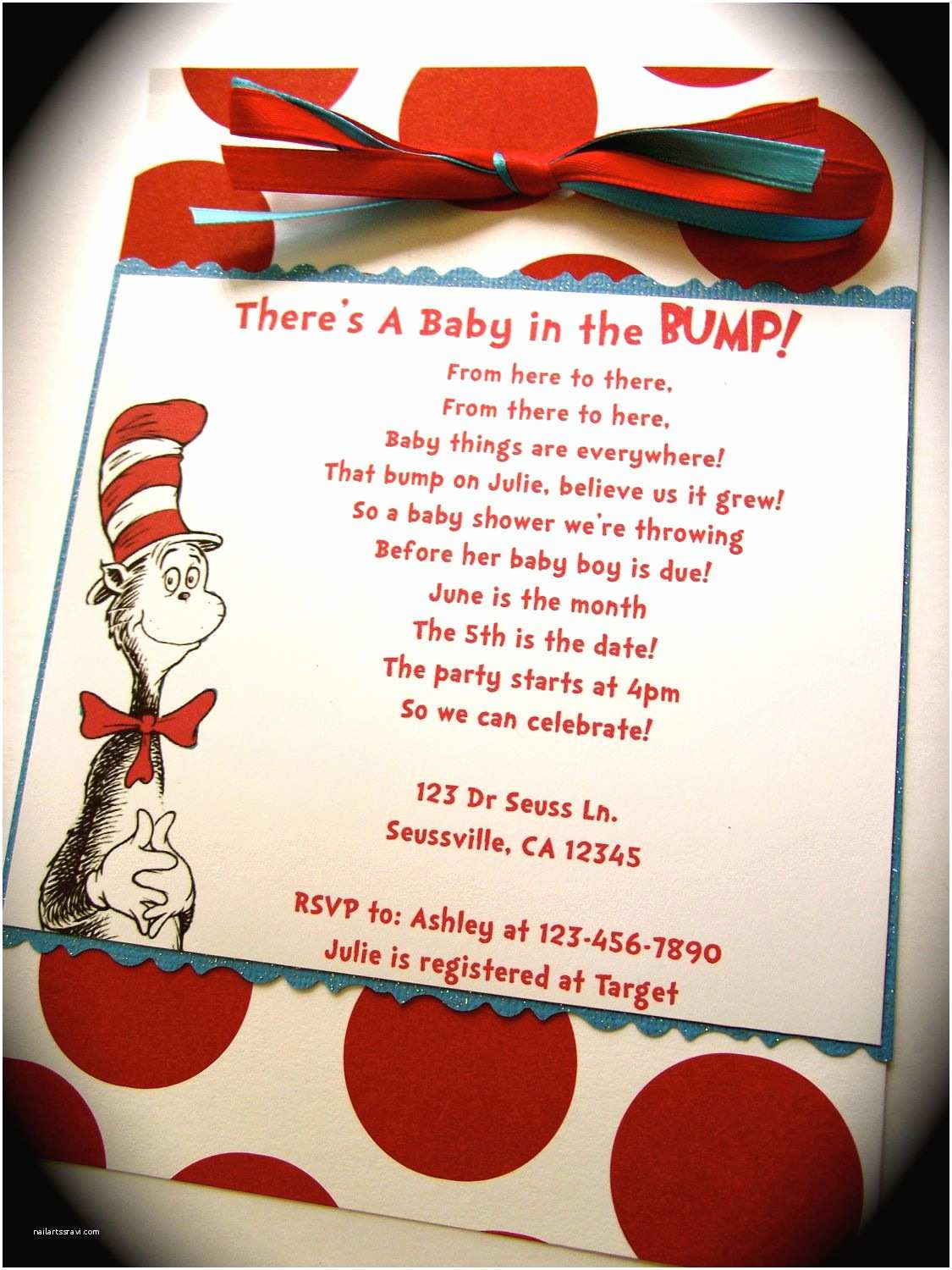 Cat In the Hat Baby Shower Invitations Dr Seuss Cat In the Hat Inspired Baby Shower or Birthday