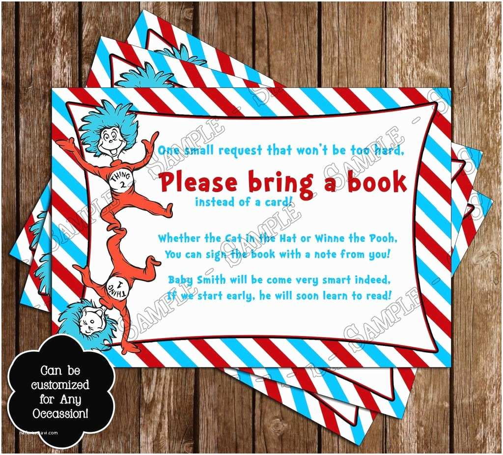 "Cat In the Hat Baby Shower Invitations Dr Seuss Cat In the Hat Thing E & Thing Two ""bring A"