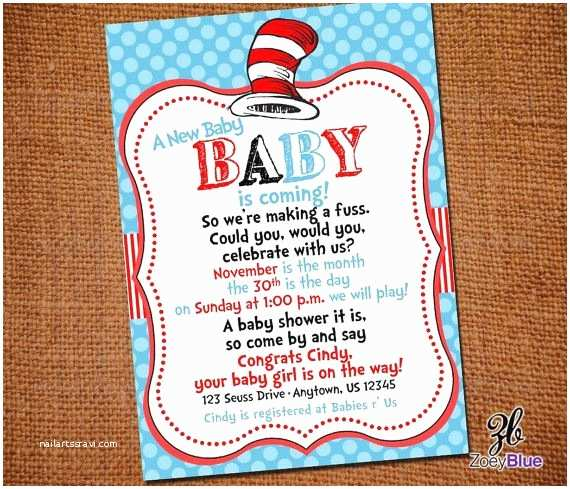 Cat In the Hat Baby Shower Invitations Dr Seuss Inspired Cat In the Hat Printable Gender Neutral