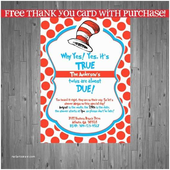 Cat In the Hat Baby Shower Invitations Dr Seuss Twins Baby Shower Invitation Baby by Abbyreesedesign