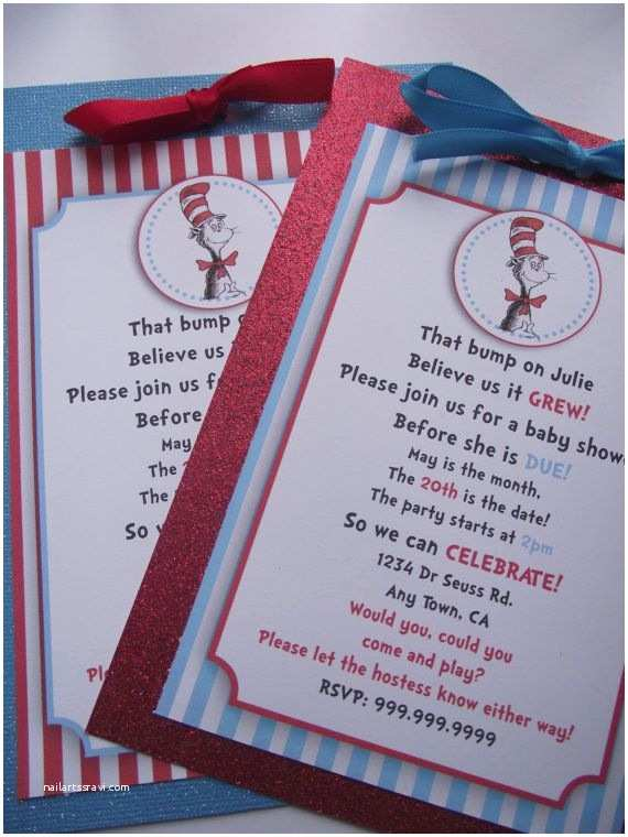 Cat In the Hat Baby Shower Invitations Dr Suess Cat In the Hat Handmade Birthday Party or Baby