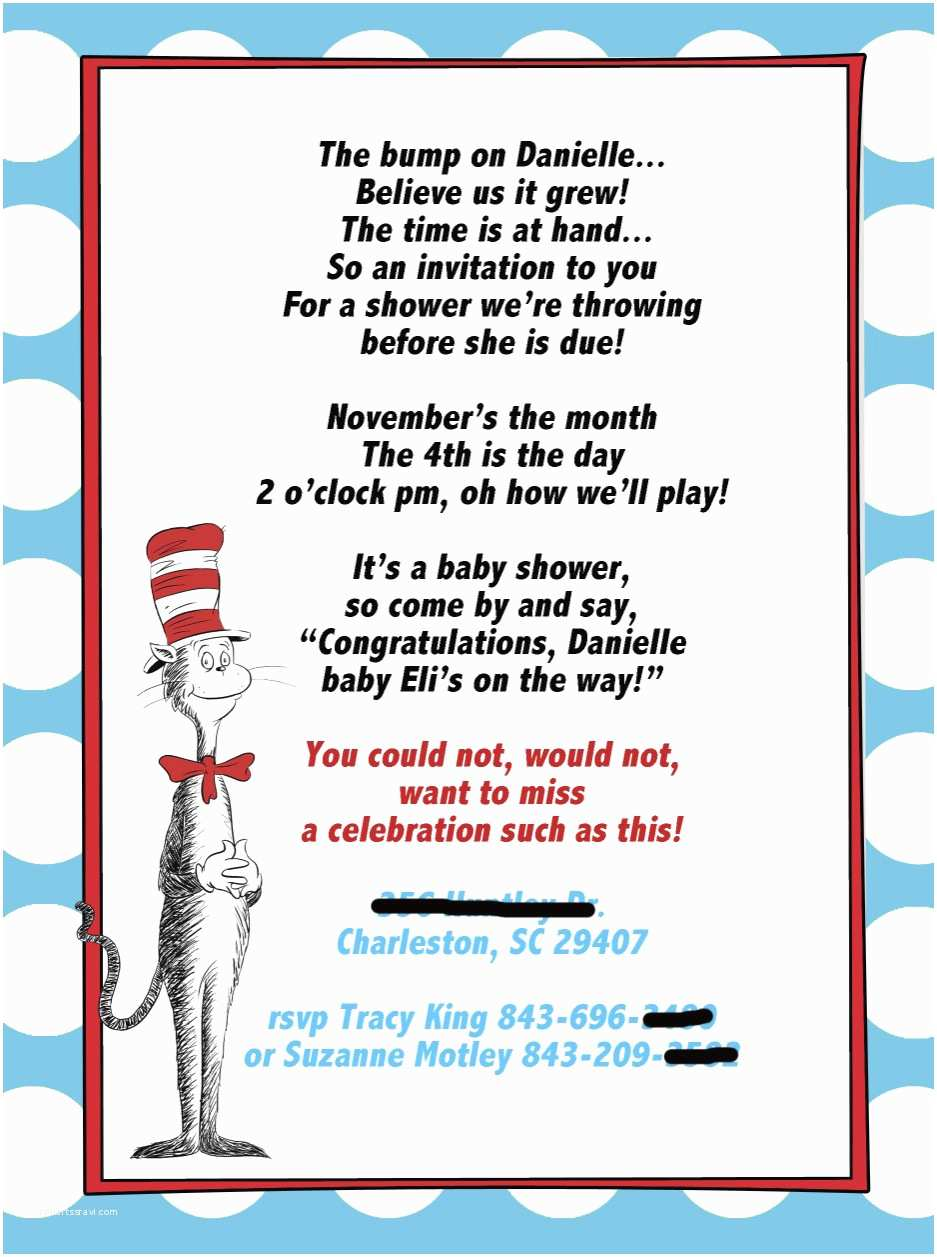 Cat In the Hat Baby Shower Invitations E Plus E Equals Three Cat In Hat Shower Invites