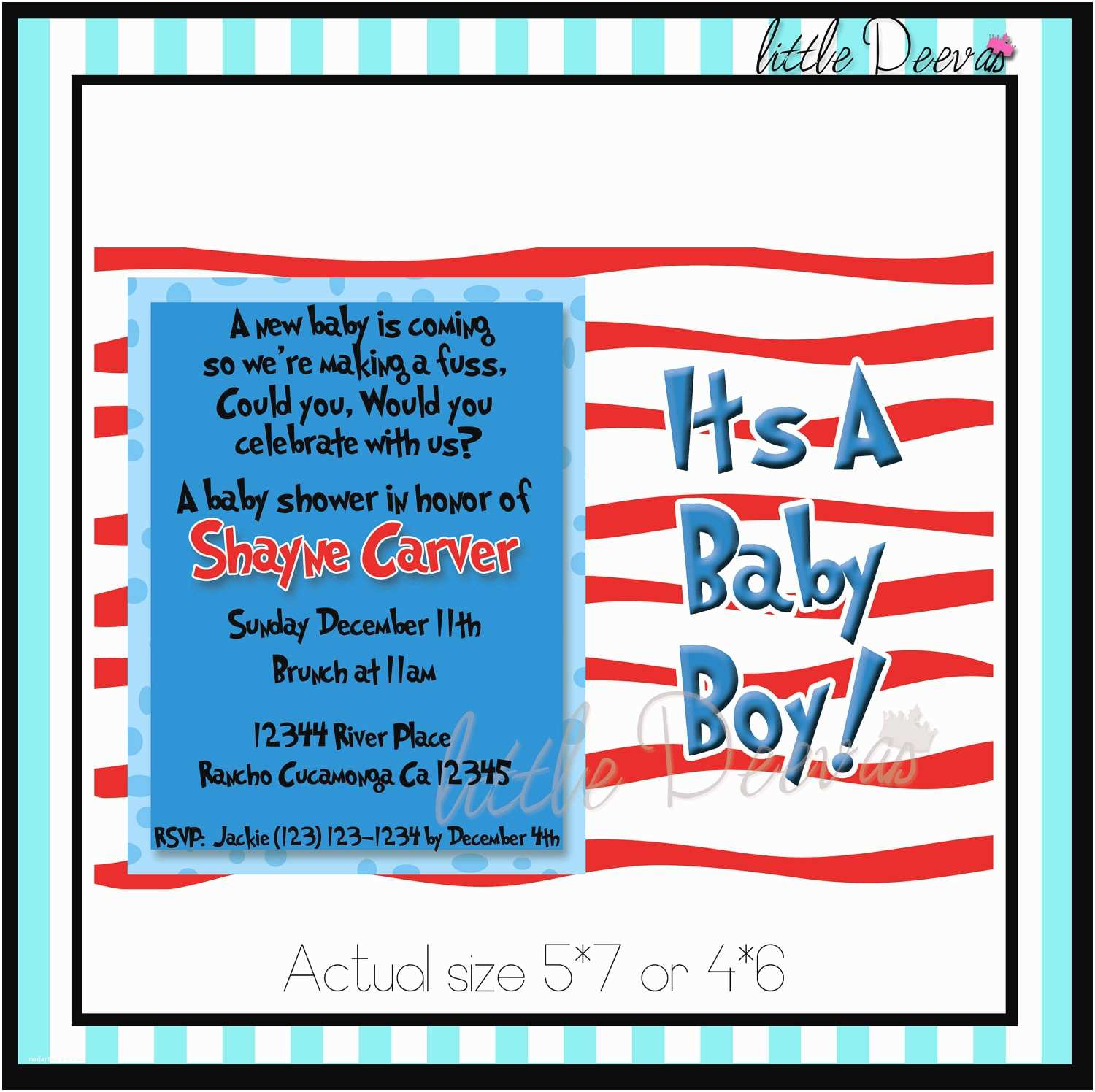 Cat In the Hat Baby Shower Invitations Items Similar to Cat In the Hat Baby Shower Invitation