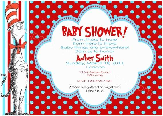 Cat In the Hat Baby Shower Invitations Items Similar to Cat In the Hat Inspired Baby Shower