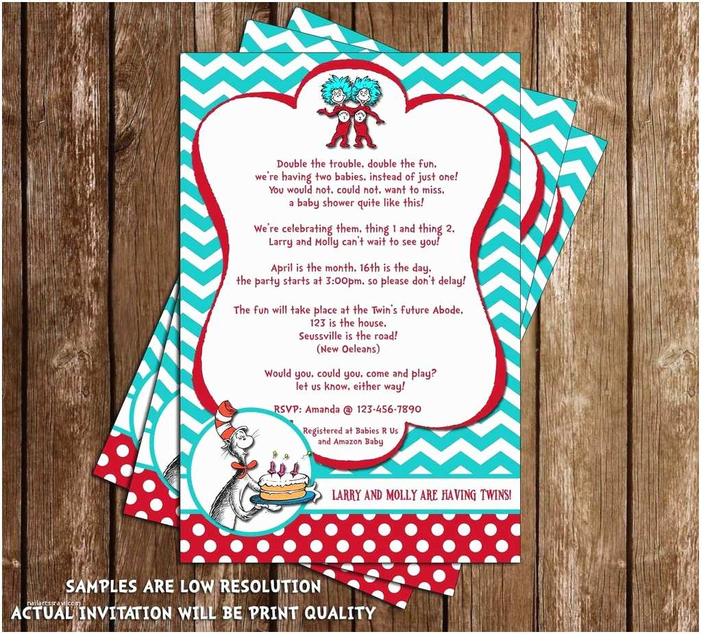Cat In the Hat Baby Shower Invitations Novel Concept Designs Cat In the Hat Thing 1 and Thing