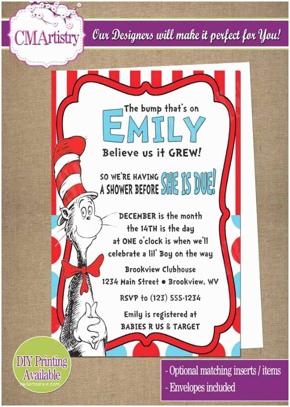 Cat In the Hat Baby Shower Invitations Personalized Invitations