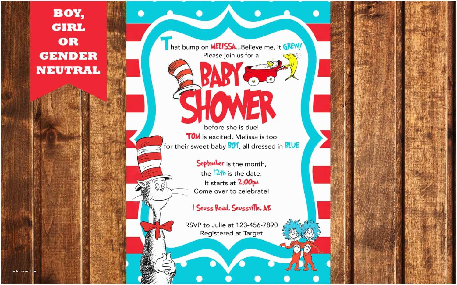 Cat In the Hat Baby Shower Invitations the Best themes for A Twin Baby Shower Baby Ideas