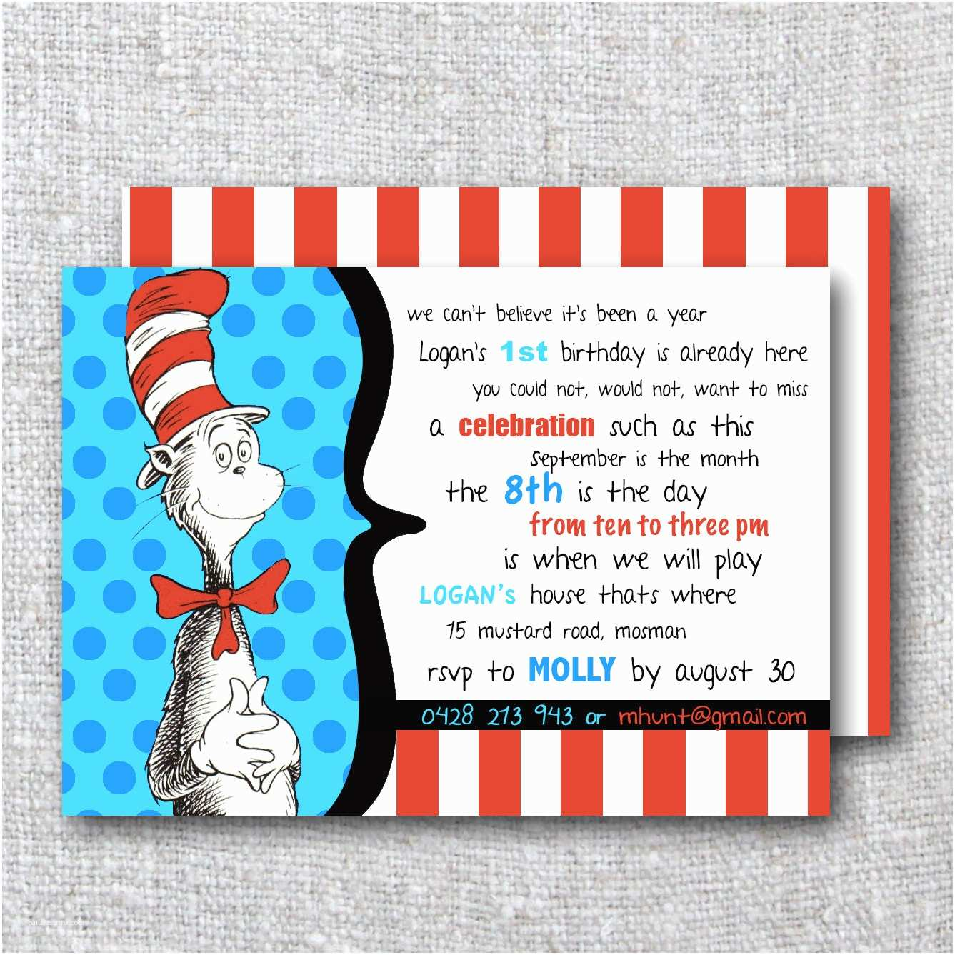 Cat In the Hat Birthday Invitations Cat In the Hat Birthday Invitation Modern by theprintablecafe