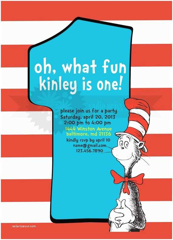 Cat In the Hat Birthday Invitations Cat In the Hat Birthday Invitation