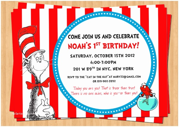 Cat In the Hat Birthday Invitations Cat In the Hat Birthday Invitations – Gangcraft