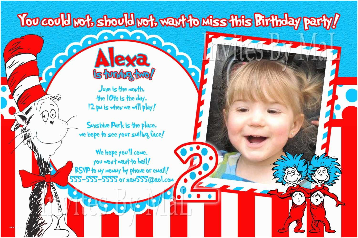 Cat In the Hat Birthday Invitations Cat In the Hat Birthday Invitations