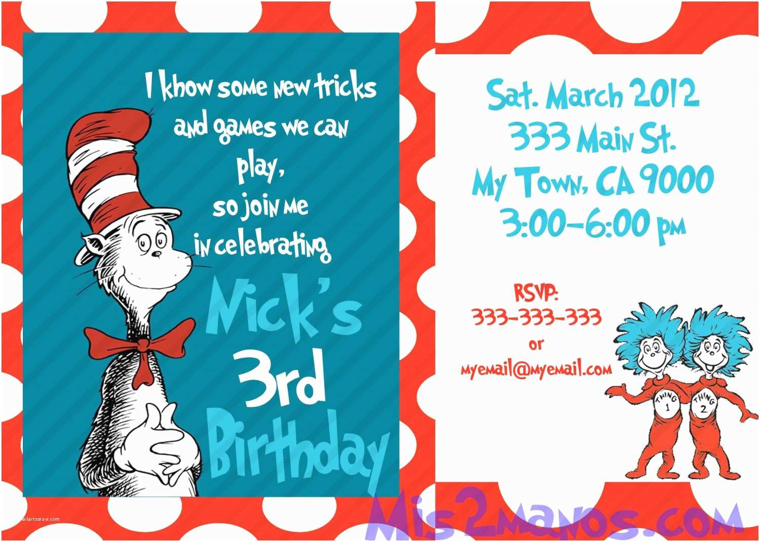 Cat In the Hat Birthday Invitations Cat In the Hat Birthday Invitations Printable E Hour