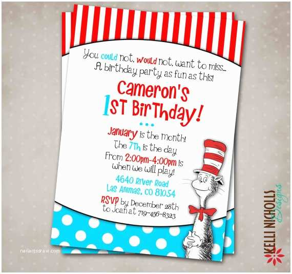 cat in the hat birthday party invitation