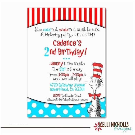Cat In the Hat Birthday Invitations Cat In the Hat Birthday Party Invitation by