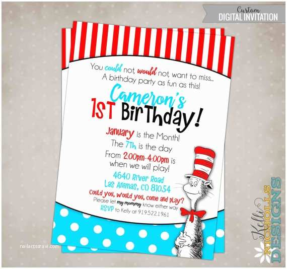 Cat In the Hat Birthday Invitations Cat In the Hat Birthday Party Invitation Custom Dr Seuss