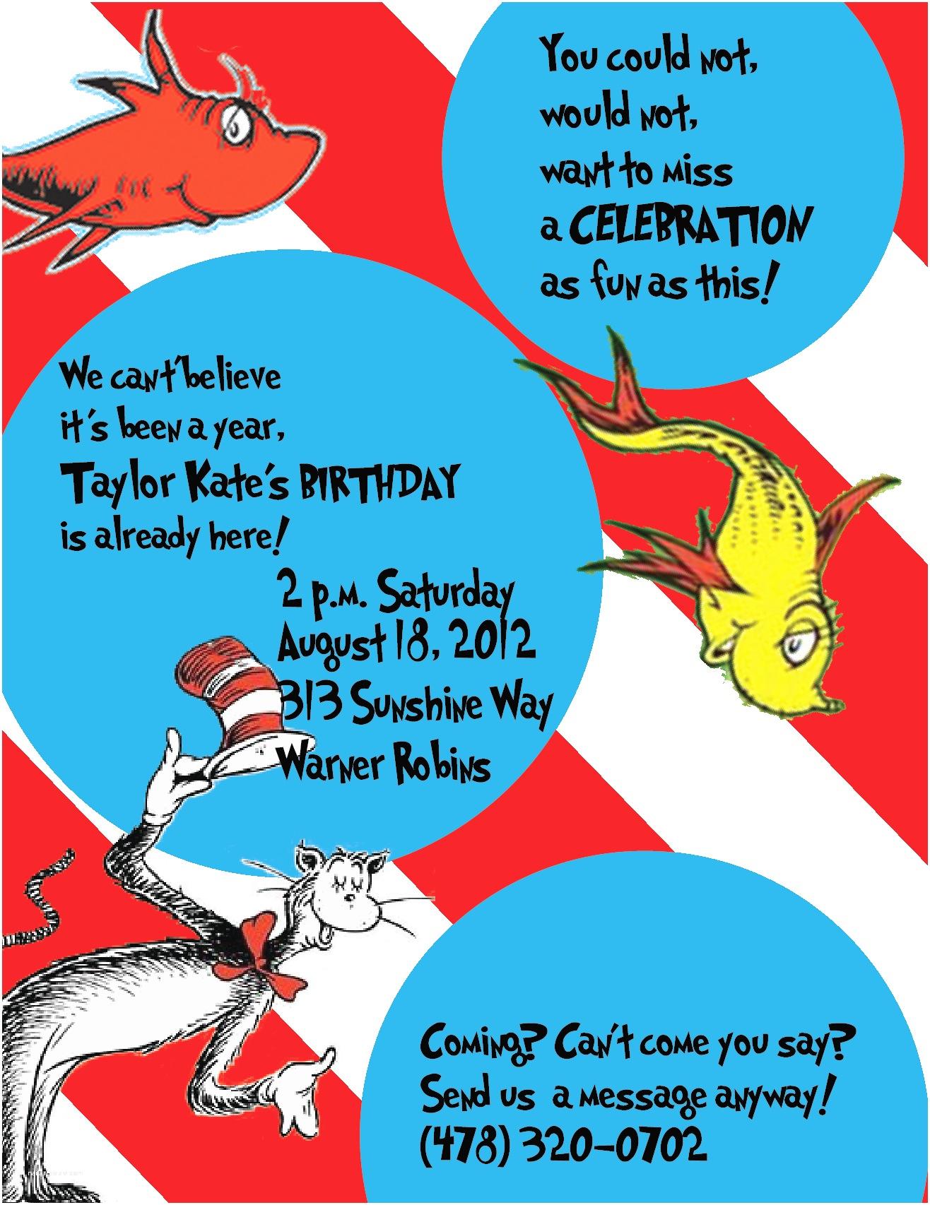Cat In the Hat Birthday Invitations Cat In the Hat Birthday Party Invitations