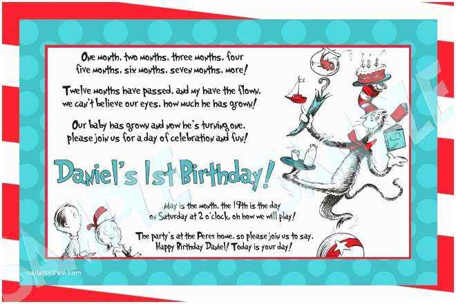 Cat In the Hat Birthday Invitations Custom Dr Seuss Cat In the Hat Birthday by